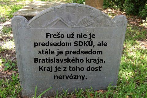 Frešo už nie je predsedom SDKÚ, ale stále je predsedom Bratislavského kraja. Kraj je z toho dosť nervózny.