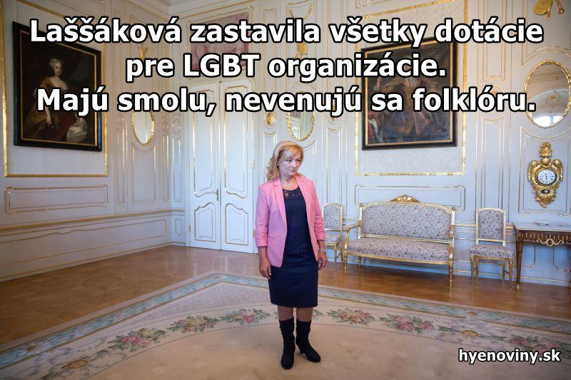 Laššáková zastavila všetky dotácie pre LGBT organizácie. Majú smolu, nevenujú sa folklóru.