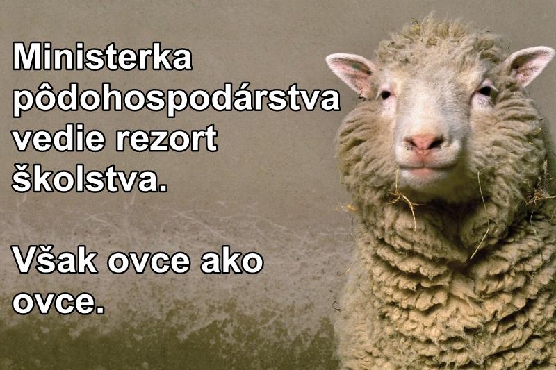 Ministerka pôdohospodárstva vedie rezort školstva. Však ovce ako ovce.