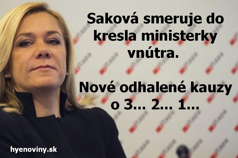 Saková smeruje do kresla ministerky vnútra. Nové odhalené kauzy o 3... 2... 1...