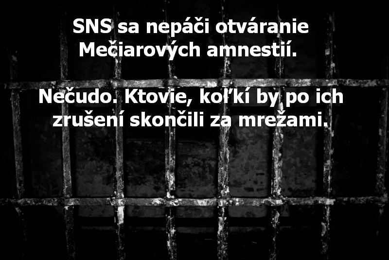 SNS sa nepáči otváranie Mečiarových amnestií. Nečudo. Ktovie, koľkí by po ich zrušení skončili za mrežami.