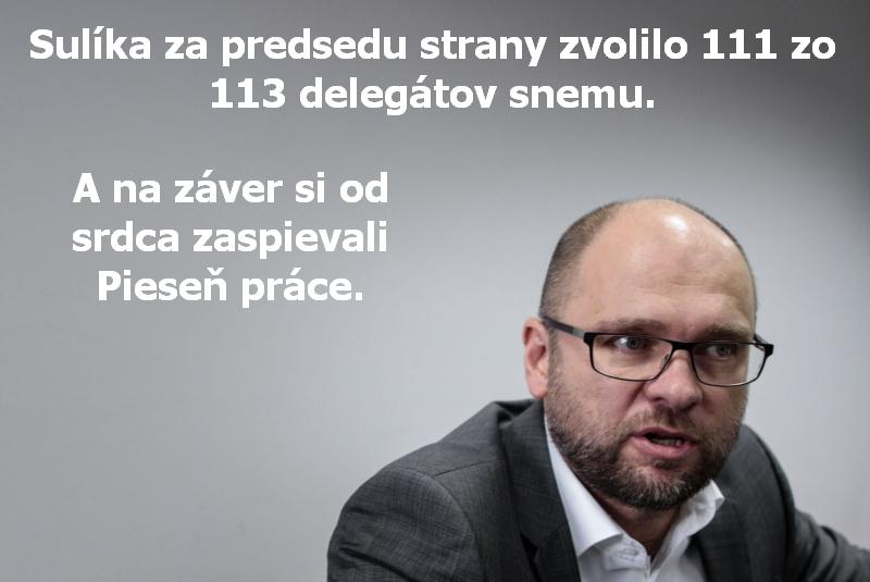 Sulíka za predsedu strany zvolilo 111 zo 113 delegátov snemu. Na záver si od srdca zaspievali Pieseň práce.