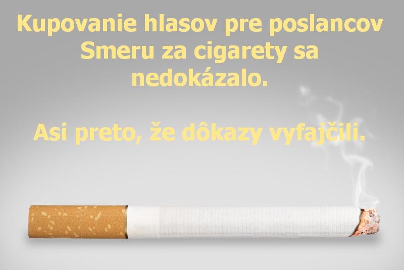 Kupovanie hlasov pre poslancov Smeru za cigarety sa nedokázalo. Asi preto, že dôkazy vyfajčili.