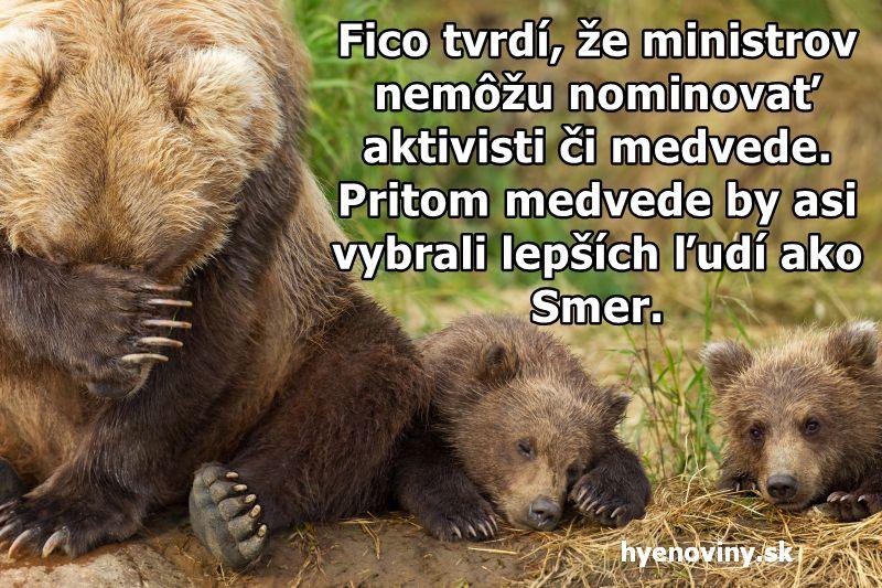 Fico tvrdí, že ministrov nemôžu nominovať aktivisti či medvede. Pritom medvede by asi vybrali lepších ľudí ako Smer.