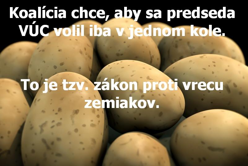 Koalícia chce, aby sa predseda VÚC volil iba v jednom kole. To je tzv. zákon proti vrecu zemiakov.